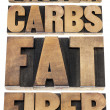 Stock Photo: Protein, carbs, fat, fiber