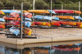 Kayaks on a dock — Stock Photo