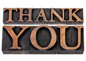 Thank you in wood type — Stock Photo