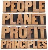 Planet, profit, grundsätze — Stockfoto