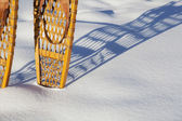Vintage Bear Paw snowshoes — Stock Photo