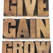 Stock Photo: Give, gain and grow