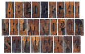 Antique wood type alphabet — Stock Photo