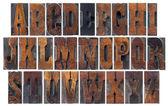 Antique wood type alphabet — Stock Photo