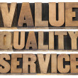Value, quality, service — Stock Photo