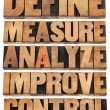 Define, measure, analyze, improve, control — Stock Photo