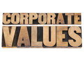Corporate values in wood type — Stock Photo