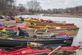 Kayaks and canoes — Stockfoto