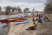 Paddling lunch break — Stockfoto