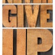 Stock Photo: Never give up in wood type