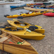 Stock Photo: Kayaks and canoes