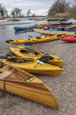 Kayaks and canoes — Foto Stock