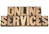 Serviços on-line em madeira tipo — Fotografia Stock