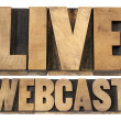 Live webcast in wood type — Stock fotografie