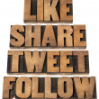 Like, share, tweet, follow — Stok fotoğraf