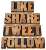 Como compartir, tweet, siga — Foto de Stock
