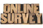 Online survey in wood type — Stock Photo