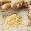 Stock Photo: Ginger root and powder