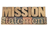 Mission statement in wood type — 图库照片