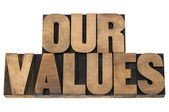 Our values in wood type — Stock Photo