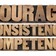 Stockfoto: Courage, consistency, competency