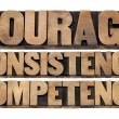 Courage, consistency, competency — Foto Stock