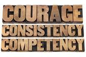 Consistentie, moed, bekwaamheid — Stockfoto