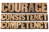 Courage, consistency, competency — 图库照片