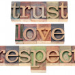 Trust, love, respect in wood type — Stock Photo #26433159