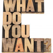 Stok fotoğraf: What do you want question