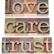 Trust, love, respect in wood type — Stock Photo #26631485