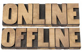 Online and offline words — Stock Photo