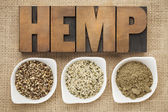 Hemp seeds, hearts and prtotein — Stock Photo