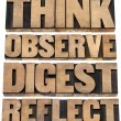 Постер, плакат: Think observe digest reflect