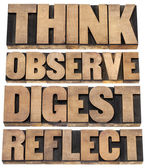 Think, observe, digest, reflect — Stock Photo