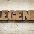 Legend word in wood type — Stock Photo