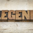 Stock Photo: Legend word in wood type
