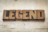 Legend word in wood type — Stock Photo