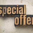 Special offer sign in wood type — ストック写真