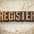 Register word in wood type — Stock Photo