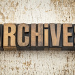 Stock Photo: Archives word in wood type