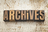 Archives word in wood type — Stock Photo