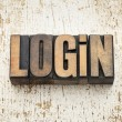 Login word in wood type — Stock Photo
