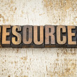 Stock Photo: Resources word in wood type