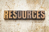 Resources word in wood type — Stock Photo