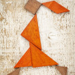 Tangram walking girl figure — Foto Stock