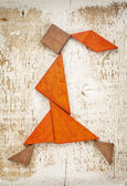 Tangram walking girl figure — Stock Photo