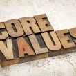 Core values  in wood type — Stock Photo