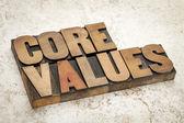 Core values in wood type — Foto de Stock