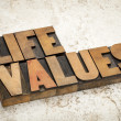 Life values in wood type — Stock Photo #29023397